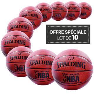 Lot de 10 ballons Spalding NBA Grip Control in/out orange